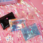 1 Pcs Kawaii Colorful Holographic Makeup Laser Bag Mini Coin Purse Bag Press Buckle Transparent Wallet Clutch Card Holders