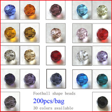 Mixed color crystal round bead 4MM 6MM 8MM 10MM multi glass beads football Top AAA Grade 200pcs