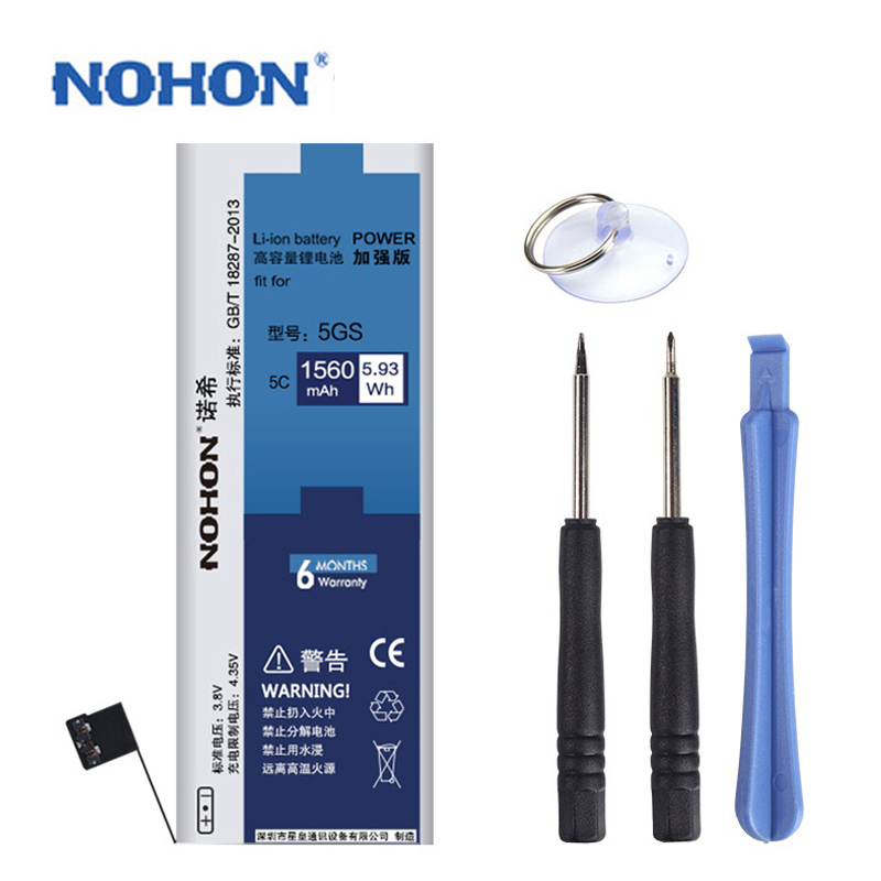 Original NOHON Battery For Apple iPhone 5S 5GS Real Capacity 1560mAh Free Repair Machine Tools With