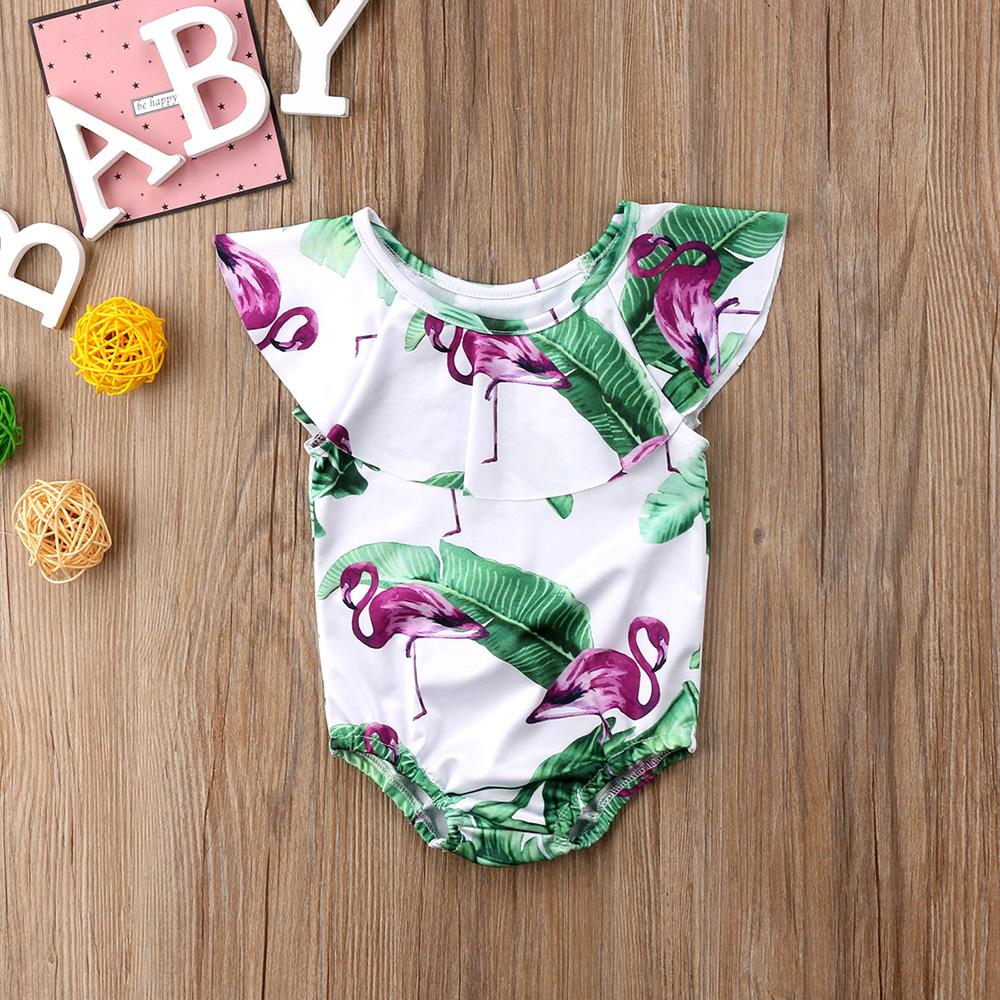 Летний детский купальник для девочки дети Фламинго цветочный принт цельный бикини с рюшами Детские бикини милый купальник для младенцев 15