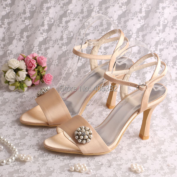 (20 Colors)Champagne Color Satin Designer Womans Sandals Summer Fashion with Pearl Charms Free Shipping