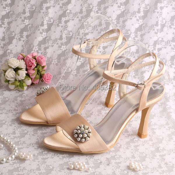 20 colorschampagne color satin designer womans sandals summer fashion with pearl charms free - Sandale Colore