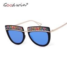 Good Win Vintage Retro Semicircle Sunglasses Women Luxury Brand Flower Sun Glasses For Folk-custom Gradient UV400 Shades