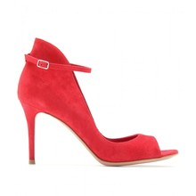 Red Suede Peep Toe Ankle Strap Women Pumps High Heel Stilettos Custom Buckle Custom Shoes Women 2016 New Made-to-order