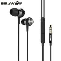 BlitzWolf BW VOX1 Hybrid 3.5mm Earphones With Microphone Phone Speaker Wired Sport In ear Noise Cancelling Stereo Bass Earbud