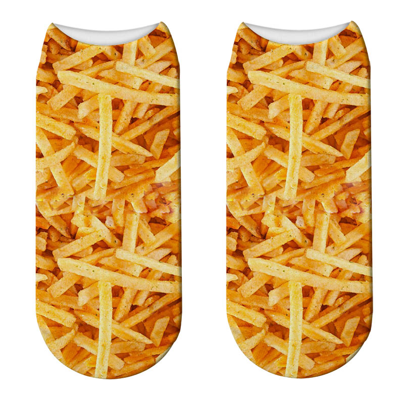 New Food French Fries Print 3D Socks Women Kawaii Funny Popcorn Short Socks Licorne Kids Girls Cute Potato Chips Calcetines Sock
