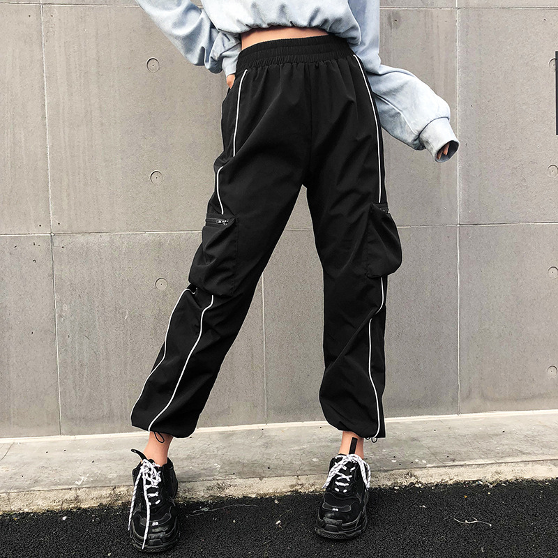 High Waist   Pants     Capris   Women Harajuku Casual Black Cargo   Pants   Streetwear Korean Sweatpants Joggers