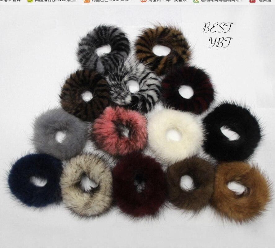 Genuine Mink Fur Hair  Women Accessory Noble Elastic Hair Band Rings Hair Ties Holder