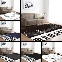 Nordic Style Living Room Home Decoration Carpets White & Black Piano Keyboard Notes Soft Flannel Bed Room Floor Mats Carpet Rugs
