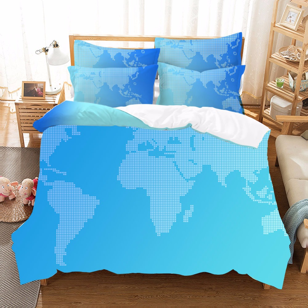 World Map Bedding Set Vivid Printed Blue Bed Duvet Cover with Pillowcase Twill Soft Cozy Home Textiles Queen Sizes 3pcs FWorld Map Bedding Set Vivid Printed Blue Bed Duvet Cover with Pillowcase Twill Soft Cozy Home Textiles Queen Sizes 3pcs F