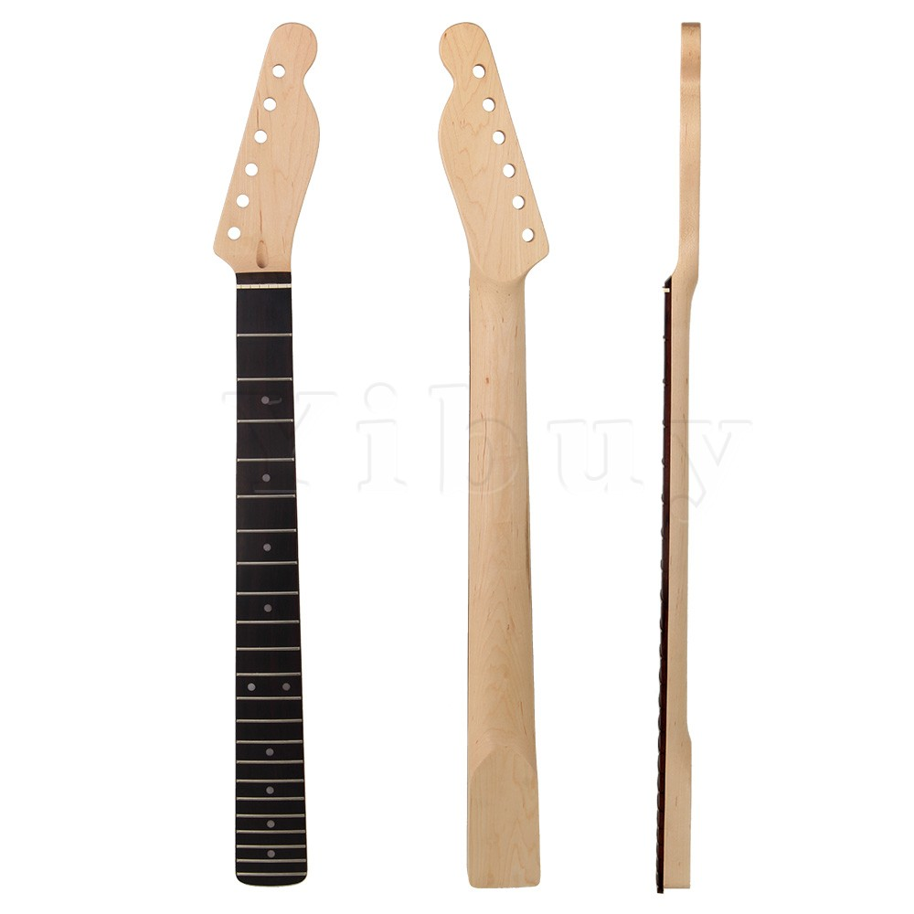 Yibuy 6 String Electric Guitar Neck Black Gloss Fingerboard 22 Fret Maple yibuy maple diy electric guitar body neck fingerboard with tuning pegs and 2 single coil pickips suit accessories