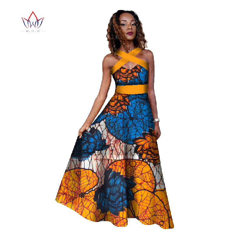 BRW Summer Dresses Women Traditional African Clothing Dress Hollow Out Off Shoulder Party Dress Vestidos Dashiki Dress WY455 Платье