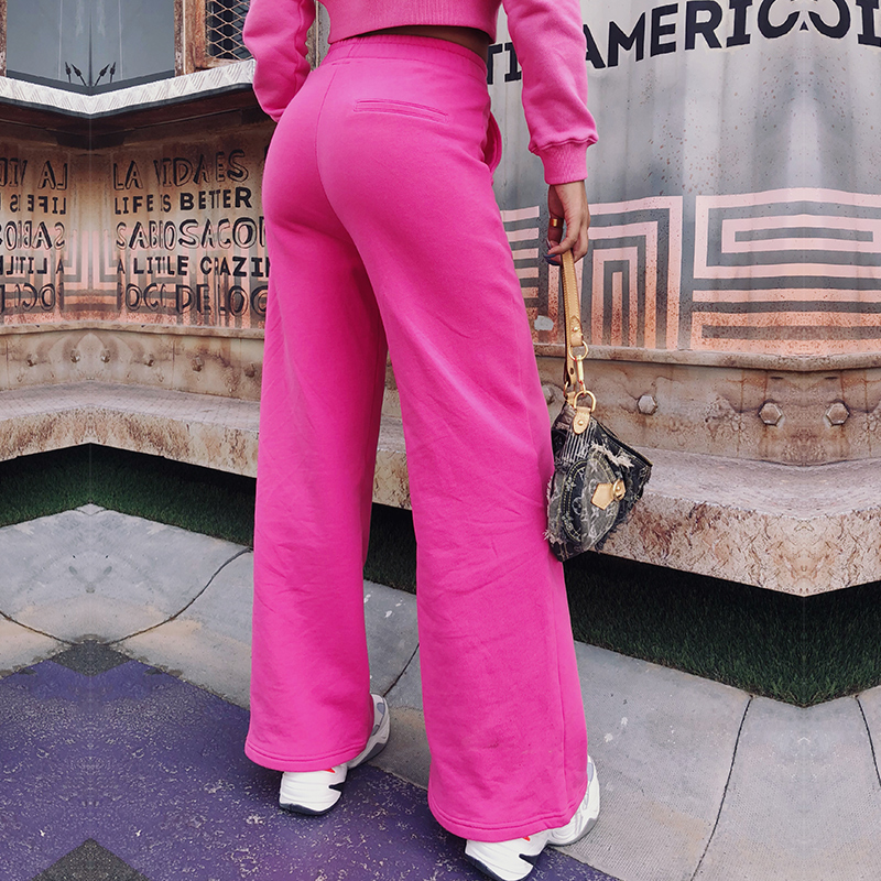 Coton Aucun Éponge Pantalons Rose Spéciale Survêtement 2018 Large Jambe Mince Femmes Mujer Haute Vente Pantalon Fuchsia Offre De Taille Lâche 67OWTSIO