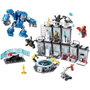 Image 2 - 608 pièces petits blocs de construction jouets compatibles lepding Iron Man Hall of Armor Marvel Super héros Avengers cadeau pour les filles garçons