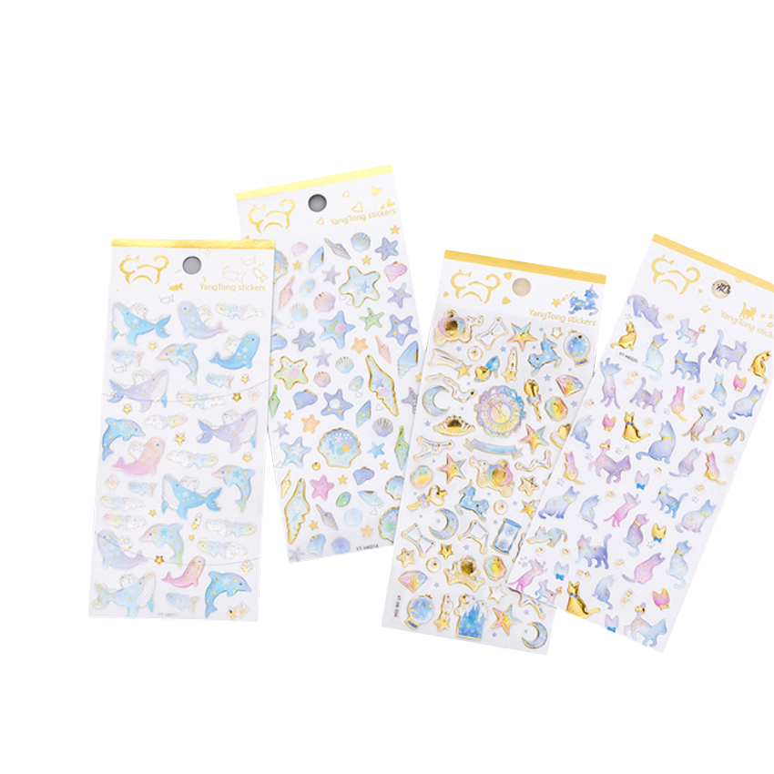 1pcs/lot Kawaii Flamingo Candy Cat Hot Stamping Dream Crystal Diary Stickers Decoration Scrapbooking DIY Sticker Stationery1pcs/lot Kawaii Flamingo Candy Cat Hot Stamping Dream Crystal Diary Stickers Decoration Scrapbooking DIY Sticker Stationery