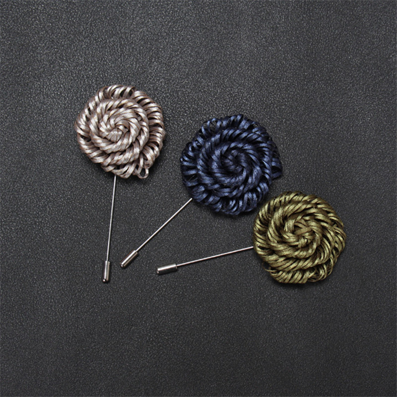 Brooch Men Label Pins Banquet Wedding Pin Handmade Fringe Flower Brooches Classic Party Brooches 16 Colors For Choose in Brooches from Jewelry Accessories