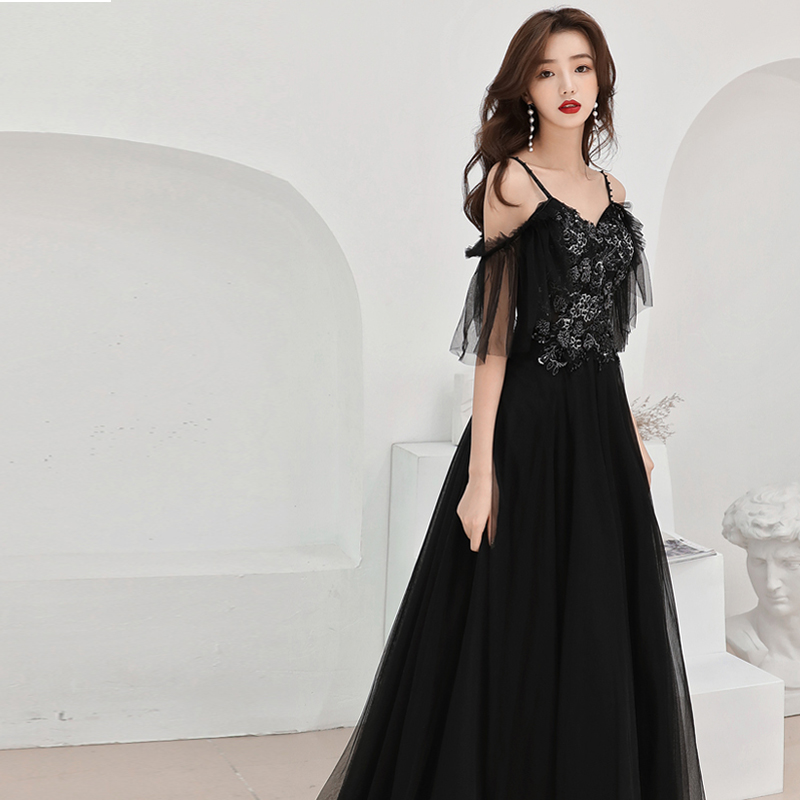 Vestidos De Gala Black Sexy Backless 2019 Sleeveless Long Plus Size V neck Dresses Women Party Night Slim Sling Prom Dress E562 in Prom Dresses from Weddings Events