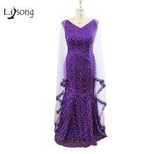 Fashion Purple Long Evening Dress With Cap Long African Nigerian Saudi Arabia Lace Formal Gowns Evening