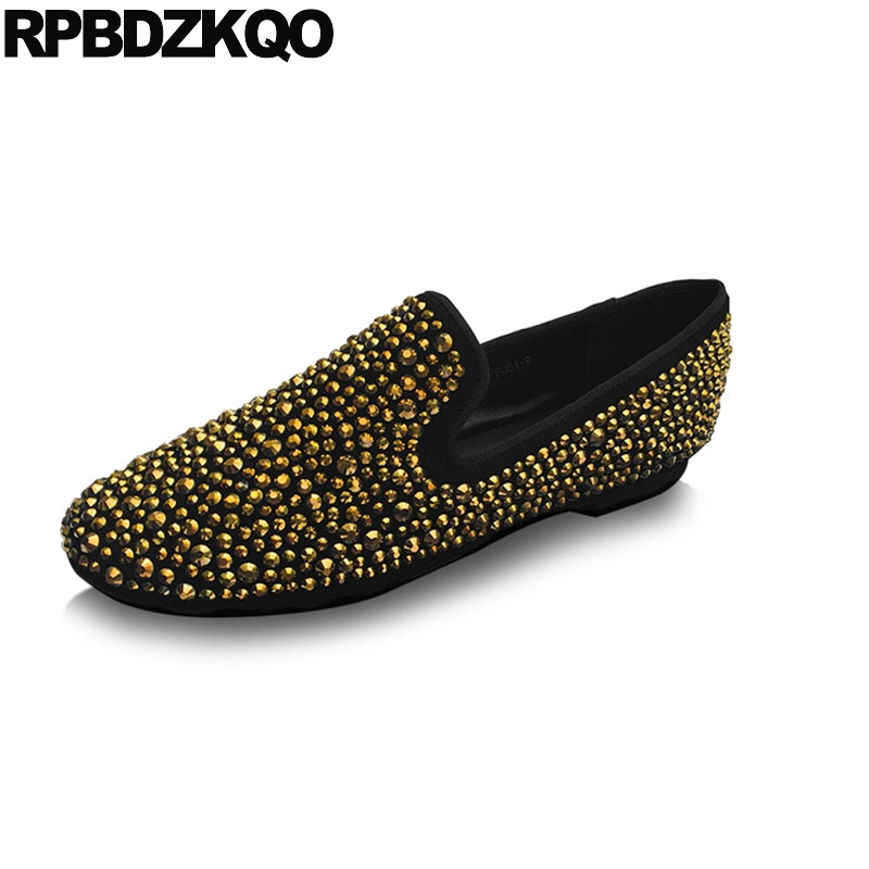 b85e7766c women gold loafers large size genuine leather ladies beautiful flats shoes  diamond crystal brand 2018 rhinestone suede round toe