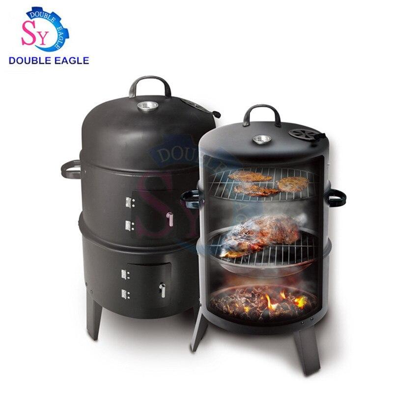 Haute capacité pas cher 16 pouces trois couches fumeurs grilles de charbon de bois/maison cylindrique extérieur four à fumée/petit four à fumée