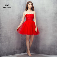 Simple Cheap 2017 New Ball Homecoming Dress Short Pleat Red Cocktail Party Dress Tulle Homecoming Dresses