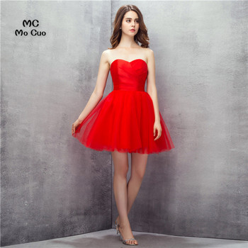 fff32c1d5 Simple barato 2017 nueva bola gasa Vestido corto plisado rojo vestido de  cóctel tulle vestidos de fiesta