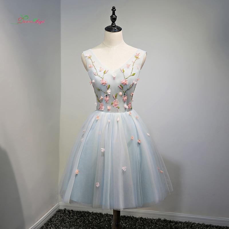 Ангел мечты сексуальные V шеи Цветы по колено коктейльные платья 2018 вышивка бисером специальные Нарядное платье Короткое платье; для вечерн