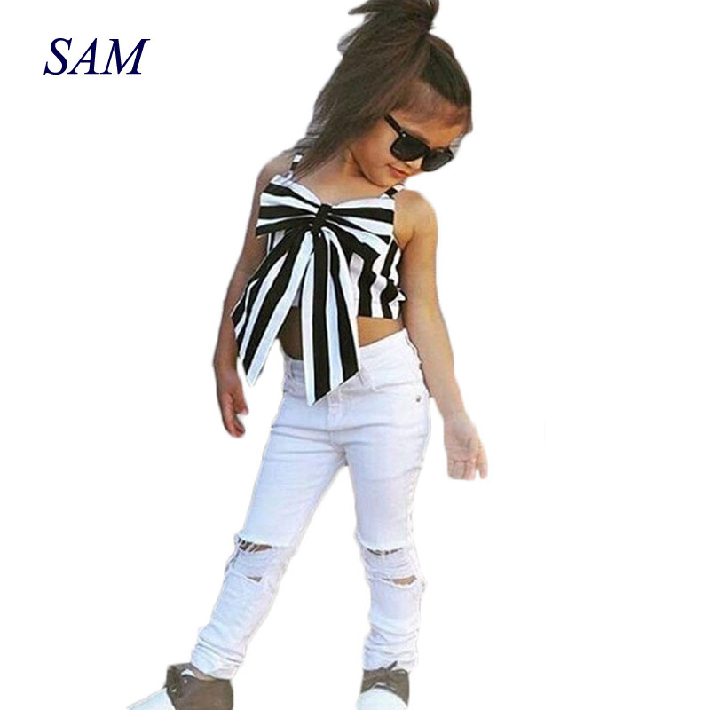 GEMTOT Girls Clothing Set 2018 Hot Summer European Style Girls Set Stripes Tops+Fashion Hole Pants 2pcs Children's Suits