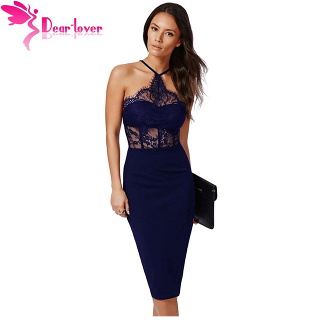 ec00fdd95cc1 Dear-Lover Sexy Sleeveless Black Halter Lace Inserted Sheer Fitted Midi  Dress LC60445 women cele