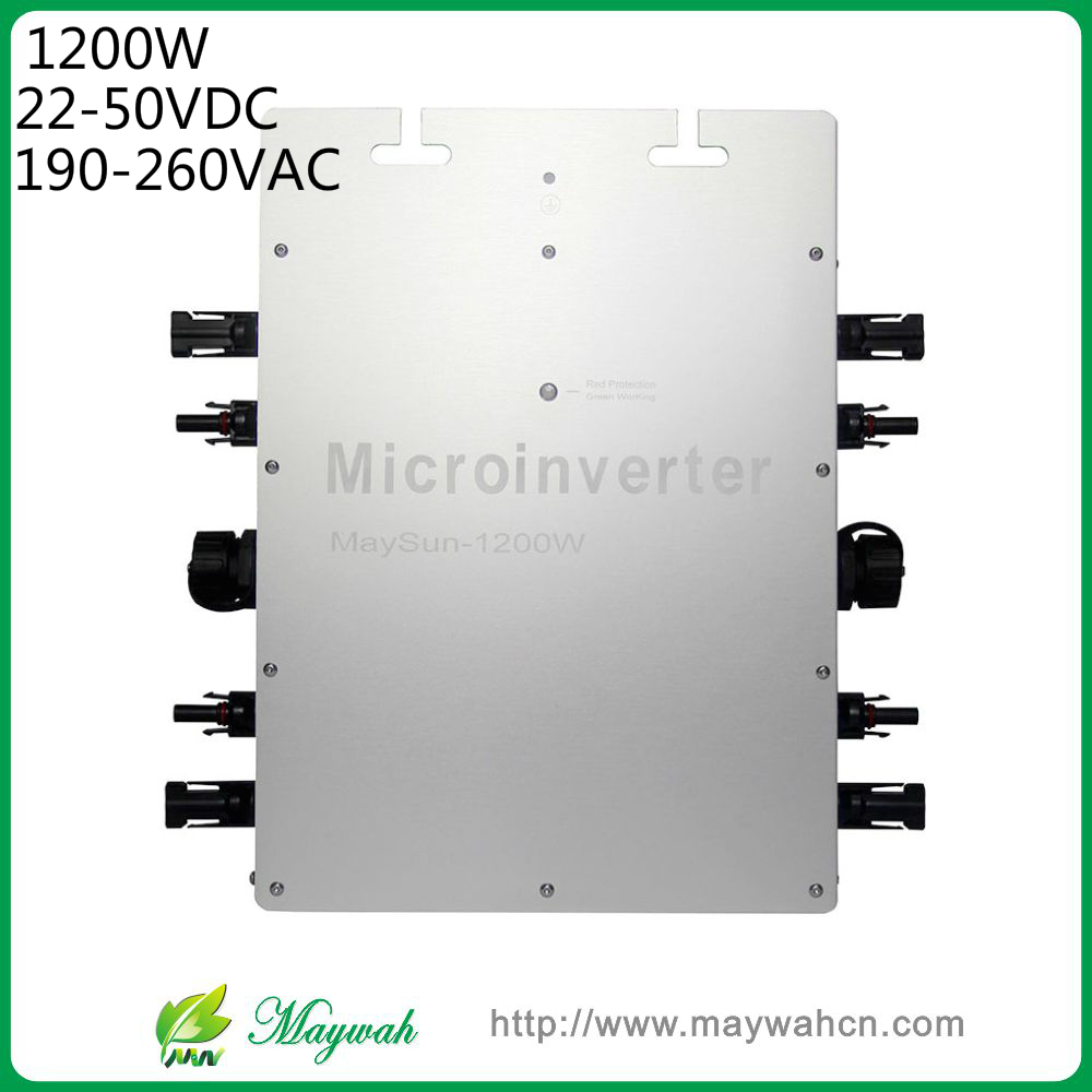 DECEN@MaySun 1200W IP65 Waterproof MPPT Solar Power Micro Inverter, 22-50VDC, 180-260VAC Micro Grid Tie Inverter maylar 22 60vdc 300w dc to ac solar grid tie power inverter output 90 260vac 50hz 60hz