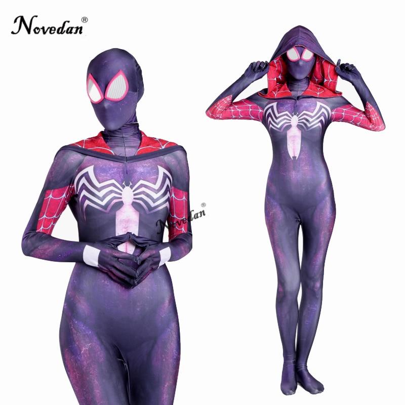 3d Print Spider Gwen Stacy Black Spiderman Kostuum Volwassen Vrouwen Cosplay Zentai Pak Spandex Vrouwelijke Halloween Bodysuit Catsuit