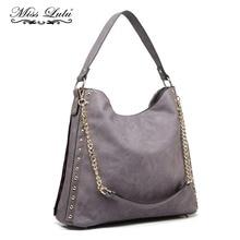 Miss Lulu Women Stud Pendant Hobo Handbags Chain Shoulder Bags Purple  Top-handle Bag Ladies f5011f40a502d