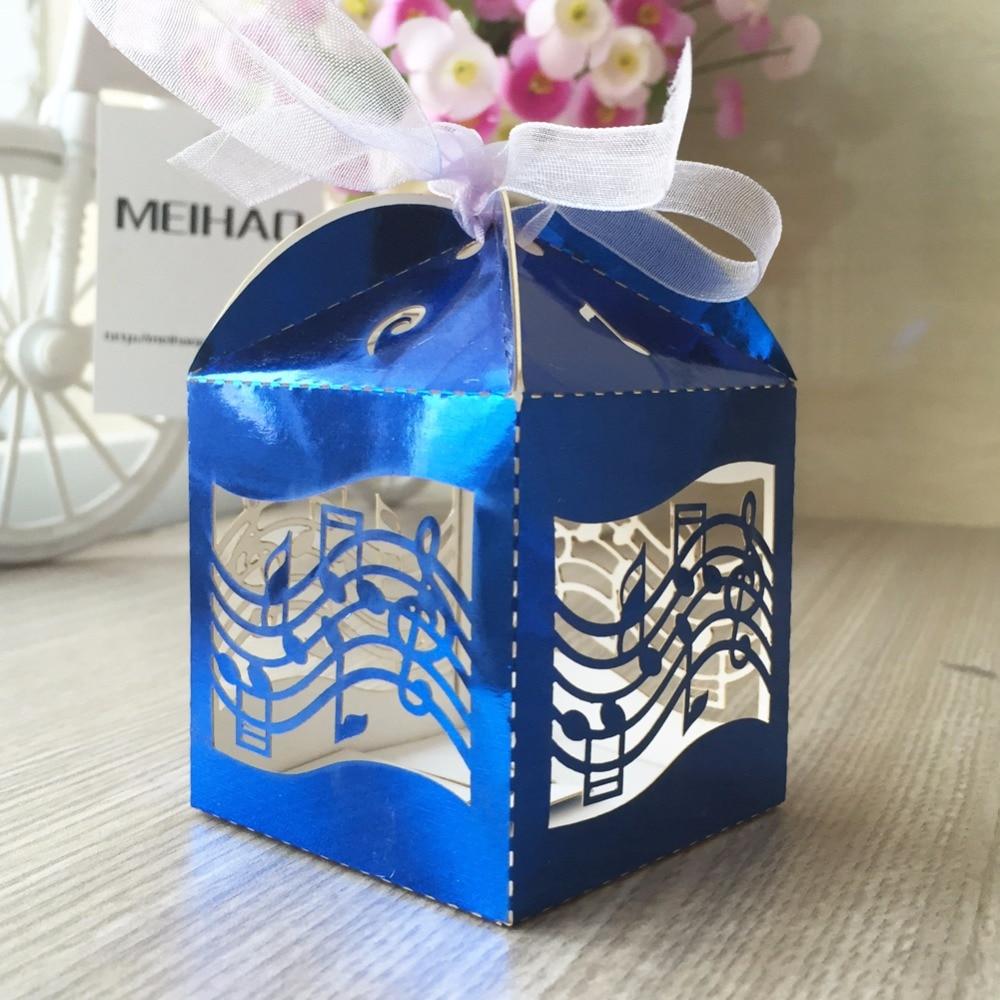 Wedding Music Box Gift: New 50pcs Bright Blue Music Note Candy Box Wedding Box