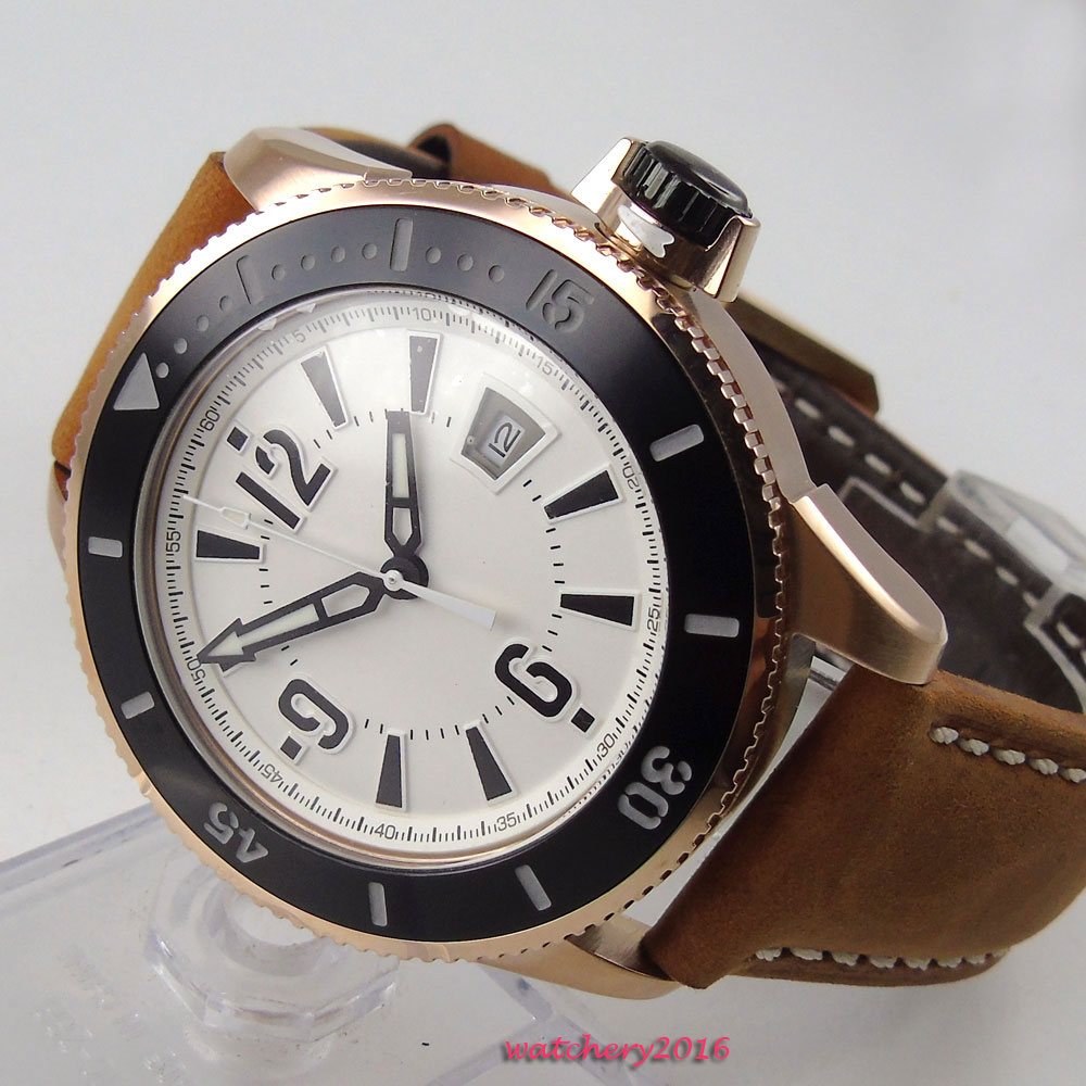 NEW 43mm BLIGER White dial Luxury Brand Stainless Steel Rose Golden Plated Case Date MIYOTA Automatic