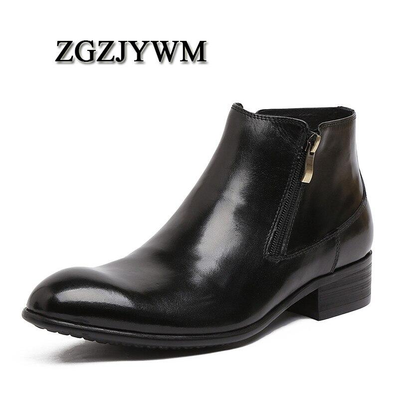 ZGZJYWM nouveau Vintage hommes Brogues en cuir véritable bois Zip imperméable à l'eau en plein air haut-haut outillage cheville robe bottes chaussures