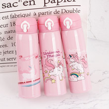 500ML Cute Unicorn Thermal Insulation Water Bottles Large-capacity Kettles Portable& Applicable For Outdoor Sports Wholesale