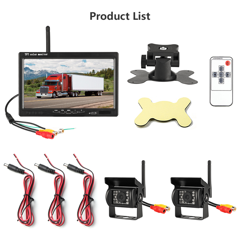 Jansite 7 quot Wireless Car monitor TFT Two Car Rear cameras Monitor Parking Rearview System for Backup Reverse Camera support truck in Car Monitors from Automobiles amp Motorcycles