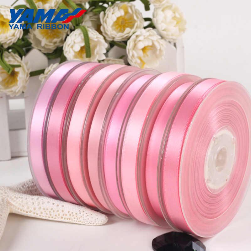Yama 50 57 63 75 89 100 Mm 100 Yard/Banyak Single Face Pita Satin Pink Merah Mawar Pesta pernikahan Dekorasi Handmade Rose Bunga