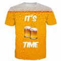 Men Women Hipster 3D t shirt its beer time prints tshirts Summer Fashion Street t shirts Hip Hop Tees Tops