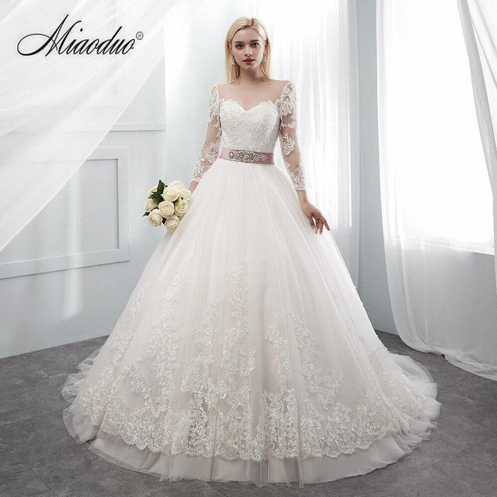 Miaoduo Lace Tulle Formal Wedding Dresses Three Quarter Sleeve Bridal Wedding Gowns 2019 vestido de casamento