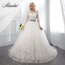 Miaoduo Lace Tulle Formal Wedding Dresses Three Quarter Sleeve Bridal Wedding Gowns 2019 vestido de casamento hochzeitskleid New(China)