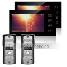 Home Secure Wired 7 inch Color TFT Video Door phone Intercom System With 2 Touch Key Monitors + 2 Outdoor bell Camera IN STOCK