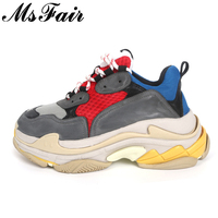 MsFair Women Thick Bottom Flats Sneaker Mixed Colors Fashion Brand Women Shoes Outdoors Women Flat Shoes Sneakers Large Size
