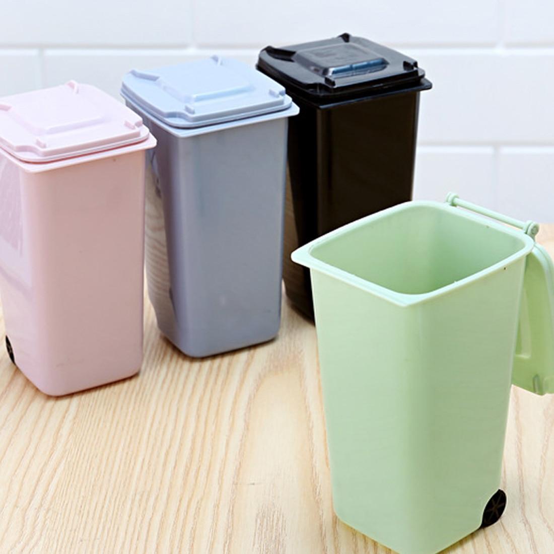 4 Colors Creative Wheelie Mini Trash Can Desktop Plastic Bucket ...