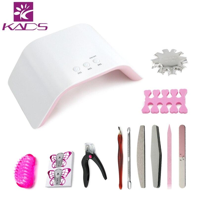 KADS 24W LED Lamp Set 2 USB Charge UV Lamp Manicure Kits Nail Dryer Nail File Brushes And Forms Extension Nail Art Tool Set manicure nail art brushes 15 piece set