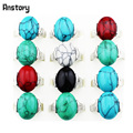 Fashion Jewelry Wholesale Lot 10pcs Silver Plated Mixed Color Turquoise Rings TR110