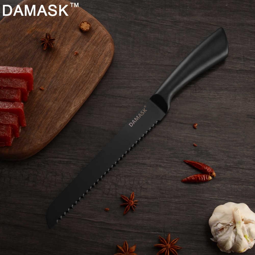 Şam japon mutfak bıçakları yapışmaz paslanmaz çelik bıçak seti tüm siyah soyma yardımcı Santoku dilimleme şef aşçı Cleaver