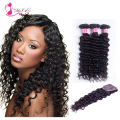 Brazilian Deep Wave With Closure Grade 7A Unprocessed Virgin Hair Natural Black Brazilian Hair Weave Bundles 3 + 1 Lace Closures