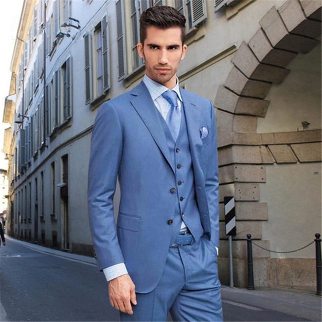 Fit Estilo Traje Regular Novio Los Personalizado Hombres As Pantalones Cena  Para Picture De Hecho Chaleco Azul Boda ... 98858f30f76