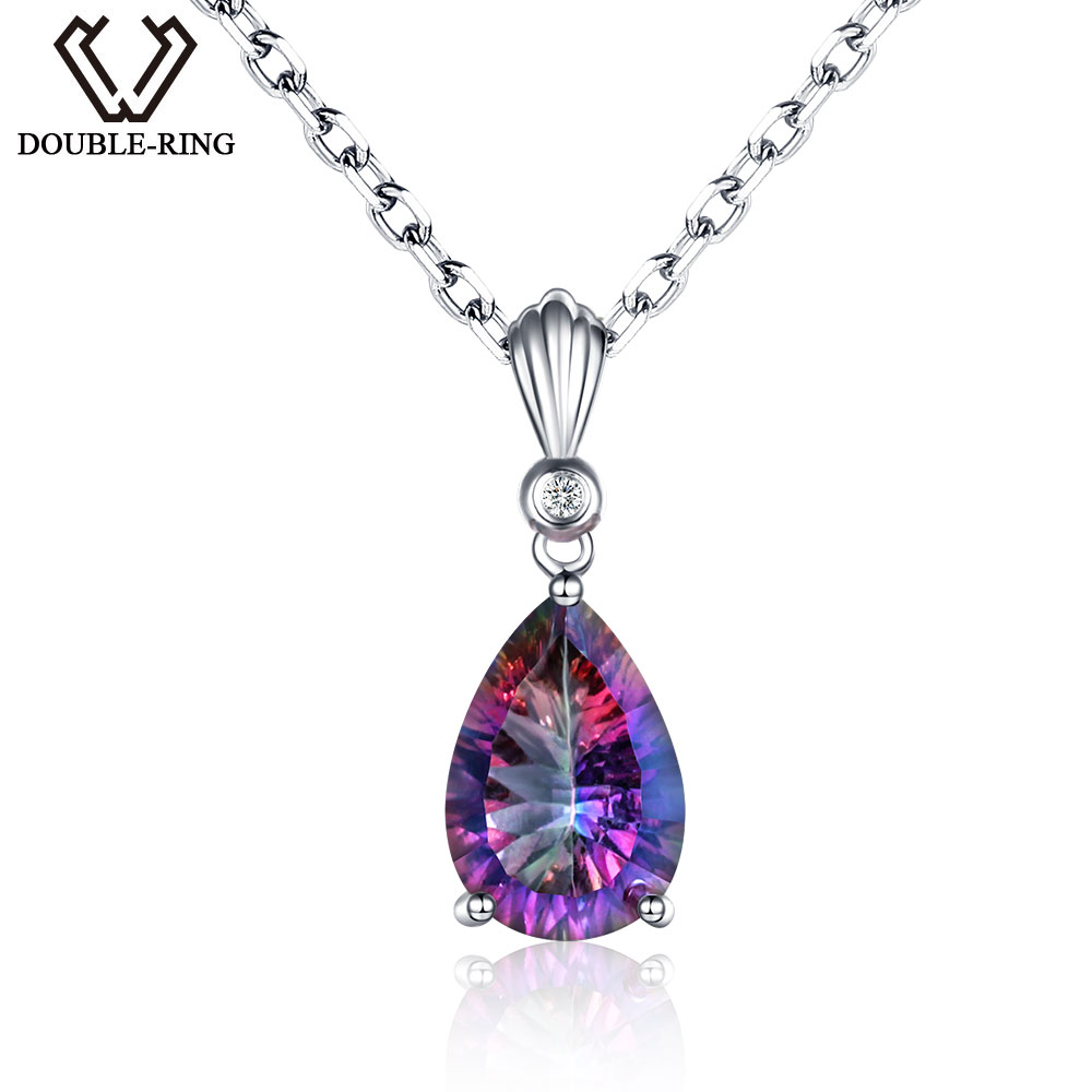 DOUBLE R 925 sterling silver Water Drop Necklaces Pendants for women Rainbow Fire Created Mystic Topaz